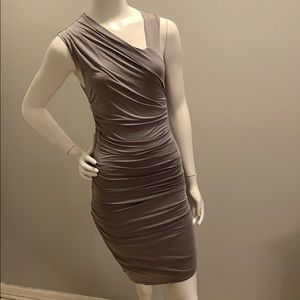 Helmut gray dress. It has an asymmetrical shoulder